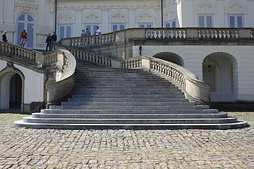 Stairway to Schloss Solitude Castle, North view, Stuttgart-West, Stuttgart, Swabia, Baden-Wuerttemberg, Germany, Europa