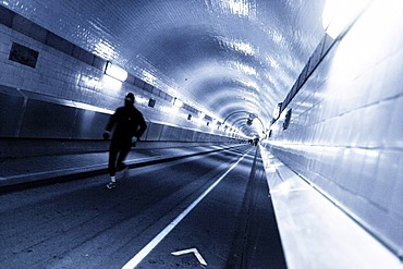 Jogger in the old Elbe Tunnel, Hamburg, Germany, Europe