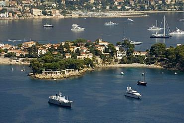 Aerial view, Saint-Jean-Cap-Ferrat, Departement Alpes-Maritimes, Region Provence-Alpes-Cote d'Azur, France, Cote d'Azur, Europe