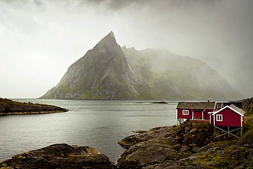 Rainy mood with fisherman's huts, Reine, Lofoten, Norway, Europe