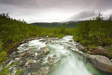 River alongside Kungsleden, The King's Trail, Lapland, Sweden, Europe