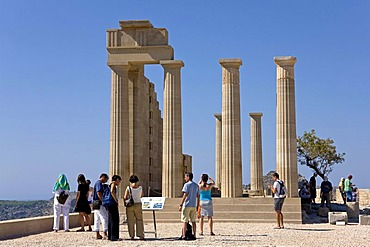 Acropolis of Lindos, Rhodes, Dodecanese, Greece, Southern Europe, Europe