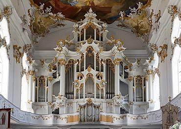 Church organ in Roggenburg Abbey, Neu-Ulm district, Schwaben, Bavaria, southern Germany, Germany, Europe