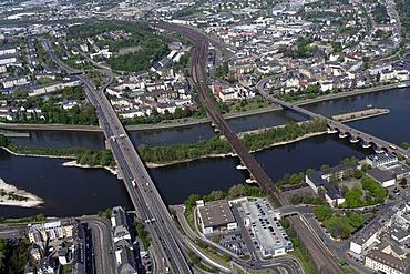 Aerial photo, bridges crossing the Moselle River, Europe Bridge, Railway Bridge and the Baldwin Bridge from left to right, Koblenz, Rhineland-Palatinate, Germany, Europe