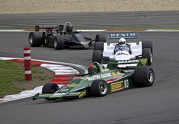Race of the historic Formula 1 cars, in front Sidney Hole in the Lotus 80 from 1980, Oldtimer-Grand-Prix 2010 for vintage cars at the Nurburgring race track, Rhineland-Palatinate, Germany, Europe
