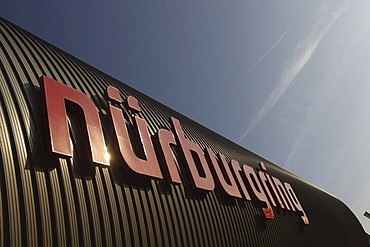 Nuerburgring sign on the facade of the Ring-Arena at the Nurburgring race track, Nuerburg, Rhineland-Palatinate, Germany, Europe
