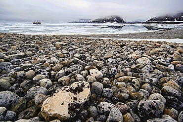 Cruise, ship, debris on the beach, ice, Svalbard, Spitsbergen, Norway