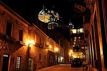 The Rue sous le fort, above the Chateau Frontenac castle in the old town of Quebec City, Quebec, Canada