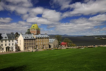 View towards Chateau Frontenac, the harbour and the St. Lawrence River, Quebec City, Quebec, Canada