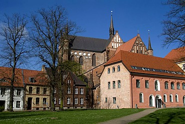 Old town and St. George's Church in Wismar, Mecklenburg-Western Pomerania, Germany, Europe