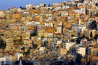 Mass of houses in Amman, the Jordanian capital in the evening light, Hashemite Kingdom of Jordan, Middle East