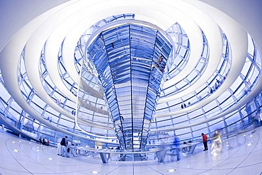 Interior view of the Glass Dome of the Reichstag Building, Berlin, Germany, Europe