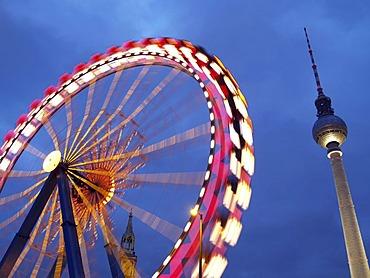 Ferris wheel and TV Tower at night, Berlin, Germany, Europe