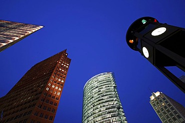 BahnTower, Kollhoff-Tower and other skyscrapers at Potsdamer Platz square, Berlin, Germany, Europe