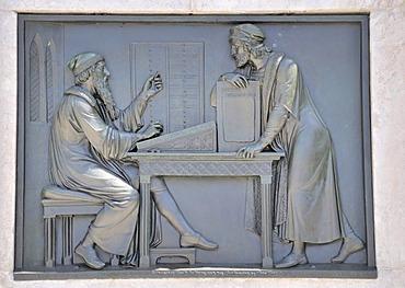 Relief artwork on the memorial to Johannes Gutenberg by Bertel Thorvaldsen, Gutenbergplatz square, Mainz, Rhineland-Palatinate, Germany, Europe