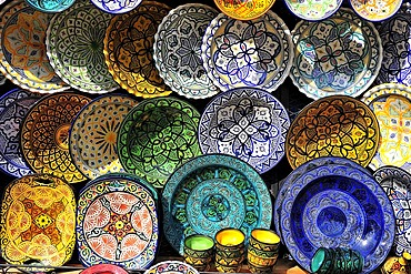 Colorful, painted ceramics plates, with traditional patterns and ornaments, Riff Mountains, Morocco, Africa