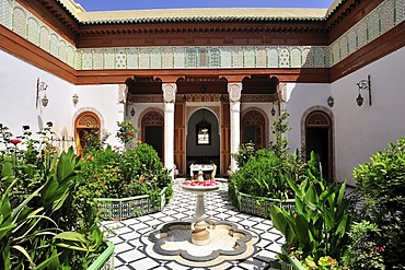 Riad, a traditional townhouse with an inner courtyard with a fountain, Marrakech, Morocco, Africa