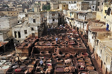 Lime and dye vats, tanners and dyers quarter, Fez, Morocco, Africa