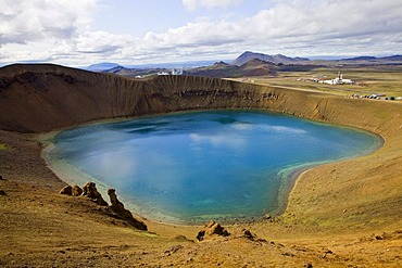 View from the Viti explosion crater over the Krafla Geothermal Area, Lake M˝vatn area, Northern Iceland, Iceland, Europe
