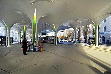 New stop of Tram 23, Muenchner Freiheit, Schwabing, Munich, Bavaria, Germany, Europe