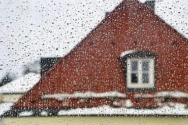 Window with raindrops, Germany, Europe