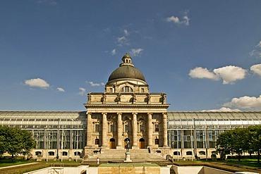 Bayerische Staatskanzlei, Bavarian State Chancellery, view on the Hofgarten park, Munich, Bavaria, Germany, Europe