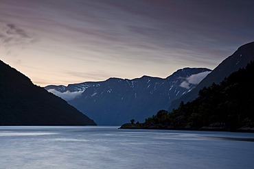 View of the beginning of the Sunnylvsfjorden from Hellesylt after midnight, Norway, Scandinavia, Europe