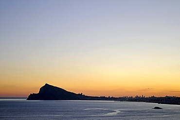 Sunset, sea, Albir, Altea, Costa Blanca, Alicante province, Spain, Europe
