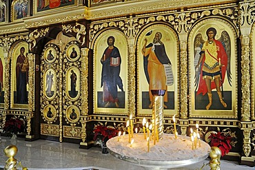 Icons, burning candles, Russian Orthodox Church, Altea, Costa Blanca, Alicante province, Spain, Europe