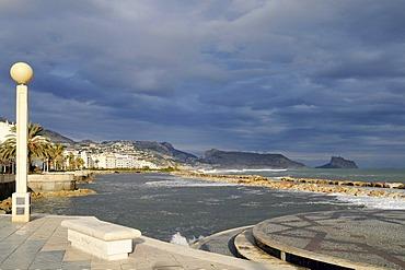 Storm, promenade, storm flood, waves, flood, Altea, Alicante province, Costa Blanca, Spain, Europe