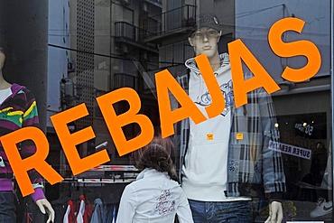 Rebajas, special offers, clothing, shop, display window, Benidorm, Costa Blanca, Provinz Alicante, Spanien, Europa