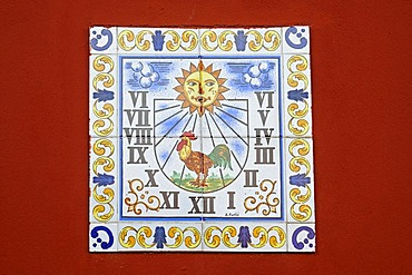Sundial, rooster, Spanish tiles, azulejos, wall, Costa Blanca, Alicante province, Spain, Europe