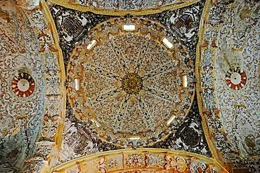 Vaulted ceiling, stucco, colorful decorations, ornaments, church of the former Cistercian monastery Santa Maria de la Vall Digna, Simat de la Vall Digna, Simat, Vall Digna, Gandia, Costa Blanca, Alicante province, Spain, Europe