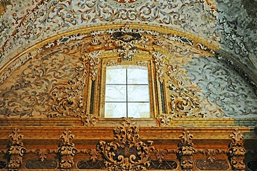 Marble window vaulted ceiling, stucco, colorful decorations, ornaments, church of the former Cistercian monastery Santa Maria de la Vall Digna, Simat de la Vall Digna, Simat, Vall Digna, Gandia, Costa Blanca, Alicante province, Spain, Europe