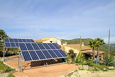 Photovoltaic, solar system beside a house, Costa Blanca, Alicante province, Spain, Europe