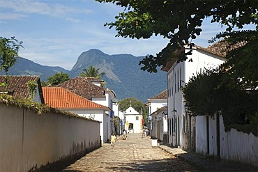 Street in colonial town of Paraty, Costa Verde, State of Rio de Janeiro, Brazil, South America