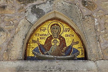 Mosaic, Moni Kalivianis convent, orphanage, girl boarding school and retirement home, Crete, Greece, Europe