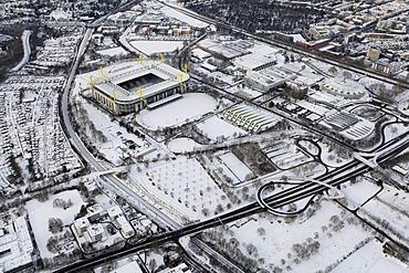 Aerial view, Westfalenhalle venue, Goldsaal venue, SignalIduna Stadion stadium, Stadion Rote Erde stadium, B54 highway, snow, Dortmund, Ruhrgebiet region, North Rhine-Westphalia, Germany, Europe