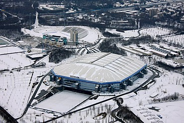 Aerial photo, SchalkeArena VeltinsArena, Gelsenkirchen, Ruhr Area, North Rhine-Westphalia, Germany, Europe