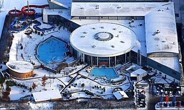 Aerial photo, Maximare adventure pool in the snow, Hamm, Ruhr Area, North Rhine-Westphalia, Germany, Europe