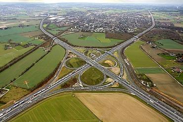 Aerial photo, Kamen cross, junction A1 A2, Kamen, Ruhr area, North Rhine-Westphalia, Germany, Europe