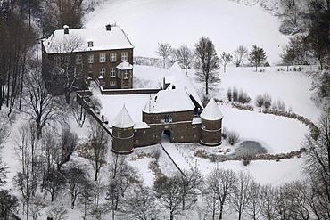 Aerial view, Burg Vondern castle, Oberhausen, Ruhrgebiet region, North Rhine-Westphalia, Germany, Europe