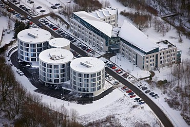 Aerial view, FEZ, Universitaet Witten-Herdecke private university in the snow, Witten, Ruhrgebiet region, North Rhine-Westphalia, Germany, Europe