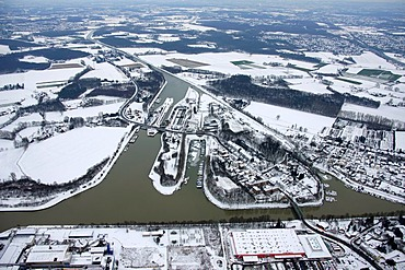 Aerial, Henrichenburg boat lift, Waltrop, Datteln city limits, Dortmund-Ems Canal, Rhine-Herne Canal, Waltrop, Ruhrgebiet region, North Rhine-Westphalia, Germany, Europe