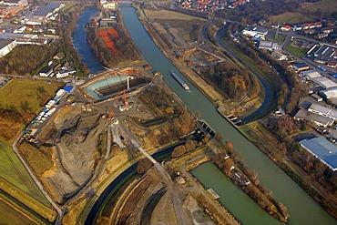 Aerial photo, Emscher River, Emscher Dueker, Henrichenburg, Rhine-Herne Canal, Castrop-Rauxel, Ruhr area, North Rhine-Westphalia, Germany, Europe