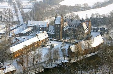 Aerial photo, Schloss Heessen Castle, Hamm, Ruhr area, North Rhine-Westphalia, Germany, Europe