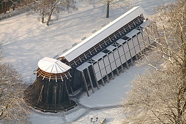 Aerial photo, graduation works in the snow, Hamm, Ruhr area, North Rhine-Westphalia, Germany, Europe