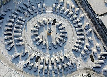 Aerial photo, Bockum-Hoevel Automeile Potthoff, car dealer, Hamm, Ruhr area, North Rhine-Westphalia, Germany, Europe