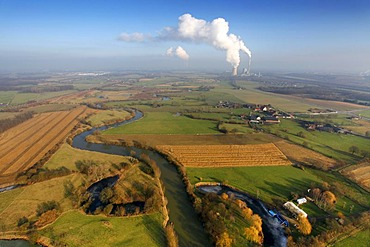 Aerial photo, Lippe River, Lippe meander and meadows, Luenen, Ruhr area, North Rhine-Westphalia, Germany, Europe