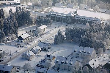 Aerial view, snow, winter, tourist office, Winterberg, North Rhine-Westphalia, Germany, Europe